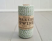 100mt roll 12ply SAGE/WHITE Bakers Twine 100% cotton