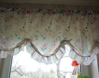 "60s Vintage Curtain Valance; Polyester Floral Valance 20"" x 74"" White / Pink / Mint Rod Pocket Balloon Valance; Pastel Color Kitchen Valance"