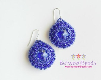 Swarovski Dark Blue Earrings, Dangle Earrings, Beaded Needlework Beadwork, Swarovski Sapphire Genuine Crystal, Unique Anniversary Gift