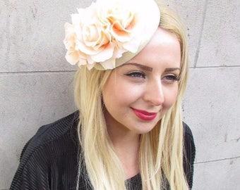 Peach Cream Rose Flower Pillbox Hat Fascinator Headpiece Races Vtg Ascot 2378