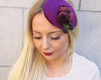Plum Berry Purple Rose Flower Fascinator Teardrop Races Vintage Hair Clip 2563