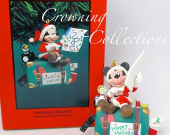 Enesco Disney Holiday Bound Mickey Suitcase Ornament Traveling Photographer Suitcase Map Vintage Treasury of Christmas Mickey & Co.