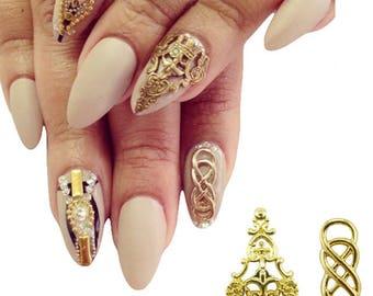 3d nail art etsy 3d nail art 10 pcs gold full cover metal nail art charms decorations 3d diy beauty prinsesfo Image collections