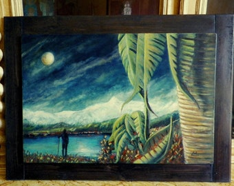 Painting The night of Shivaratri, oil painting on wood panel, View of Pokhara valley Lake Fewau facing Mahapuchare anapurna south Nepal