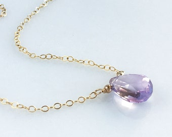 Gold Lilac Amethyst Necklace - Amethyst Necklaces for Women - Pink Amethyst Gemstone Necklace for Women - February Birthstone Necklace