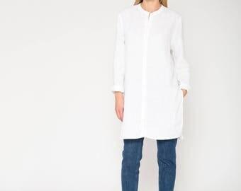 White Linen Shirt / Mandarin Collar Shirt / Long Linen Shirt / White Linen Tunic / White Linen Top