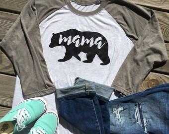 Mama Bear Raglan Tee, Raglan Shirt, Mama Bear Shirt, Trendy Shirt, Mom Shirt, Mom Life Shirt, Mama Shirt, Mom To Be Shirt, Shirts For Mom