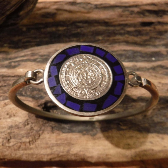 Vintage Sterling Silver Aztec Calendar Bracelet Signed Taxco Mexico 925 Mayan Blue Lapis Onyx Hinged Bracelet Signed Heavy 15.1 Grams