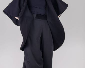 Black cotton oversized cardigan / Woman black jacket / Chunky loose cardigan / Shapeless black jacket with pockets / Plus size/ Fasada 1772