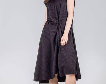 Woman's black dress / A-line sleeveless dress / Plus size woman's simple dress / Draped black fashion dress / Fasada 1797