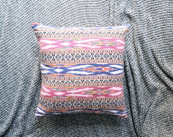 Ikat Cushion Cover, Throw Pillow Cover, Throw Cushion Cover, Decorative Cushion Cover, Decorative Pillow Cover - Red & Blue