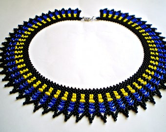 Native American style Necklace Saraguro technique Beadwork Huichol style Necklace Bead indian style jewelry Blue and Yellow Necklace