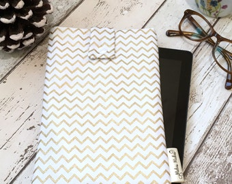 Gold Chevron Kindle Case, Padded Kindle Pouch, Fire 7 HD 8 10, Paperwhite, Voyage Cover. Tablet eReader Travel Sleeve, Gold eBook Cover