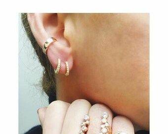 Sterling Silver Ear Cuff  in 18K Gold Vermail, Ear cuff, Fake Piercing, No Piercing, Double Cuff, Cartilage Cuff, Cuff