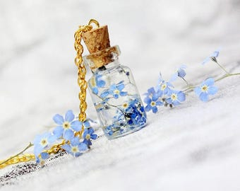 blue necklace mini bottle necklace terrarium jewelry blue forget me not flower gifts daughter necklace cute kids gift sister birthday Рю198
