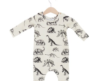 Dinosaur Cream Organic Cotton Baby Long Sleeve Romper