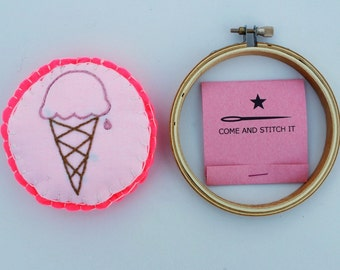 DIY Learn to Embroider Ice Cream Kit: DIY patch, sachet, coffee sleeve project kit