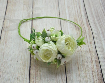 Wedding Flower headband Bridal headpiece Bridal crown Bridal flower crown Bridal hairpiece Wedding halo Wedding headband Ivory Green crown