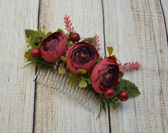 Wedding hair comb Gift for mom Burgundy hair comb Rustic wedding Bridal hair accessories Bridesmaid hair comb Wedding hair piece Flower hair
