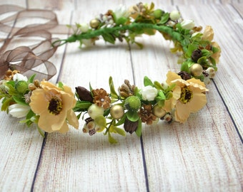 Bridal Floral Crown Wedding flower crown Wedding flower halo Bridal Flower crown Bridal floral head wreath Girl's flower crown Gift for her