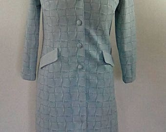 Vintage coat dress 60s 70s baby blue fitted coat size medium