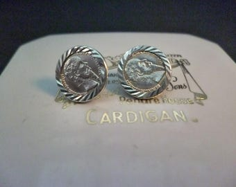 """Vintage shimmery silver coin earrings - studs - 925 - sterling silver - 0.7"""" x 07"""""""