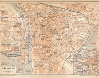 1929 Wurzburg Germany Antique Map