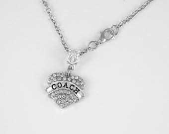 Coach Necklace Cheer Charm necklace Cheerleading Pom Pom Cheerleader School Sports Diamond Cut Necklace