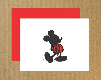 Mickey Monogram Note Cards, Set of 10, Mickey Mouse, Monogram Mickey Mouse, Mickey Note Cards, Mickey Thank You Cards, Mickey Birthday