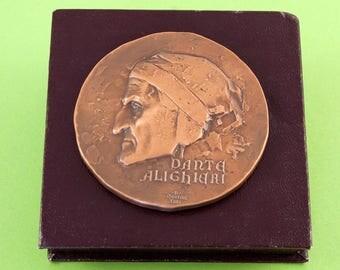 Dante Alighieri Bronze Medal - Verona 700 year anniversary 1265 to 1965 - Collectible Medal - Italian Medal
