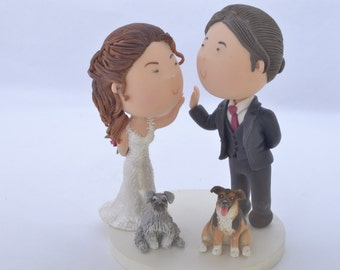 Couple high five and their dogs. Wedding cake topper. Wedding figurine. Bride and Groom. Handmade. Fully customizable. Unique keepsake