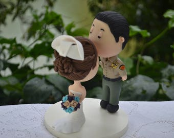 Wedding cake topper. Police Officer. Handmade. Fully customizable. Unique keepsake.