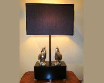 Art Deco Figural Gazelle Table Lamp Black and Chrome Antelope Animal Light 1920's