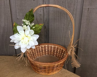 Flower girl basket/ rustic flower girl basket/ rustic basket/ woodland basket/ rustic wedding/ woodland wedding/rattan basket/wedding basket