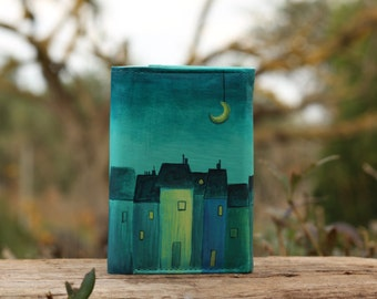leather key holder, blue, dark blue, night in the town,  houses, moon, moonlighting, midnight, turquoise
