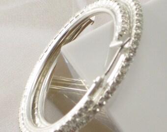 Rhinestone Earrings Hoop Earrings Silver Hoops Crystal Hoops Evening Earrings Bridal Earrings Wedding Earrings Elegant Earrings