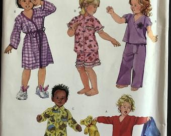 Simplicity 3584 - Toddler's Pajama Set and Robe - Size 1/2 1 2 3 4