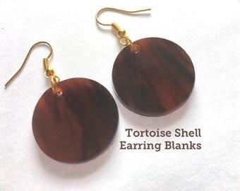 Acrylic Blanks, Tortoise Shell earrings, 1 Inch Circles 1 Hole, earring blanks, blank acrylics, circle earrings, monogram earrings, tortoise