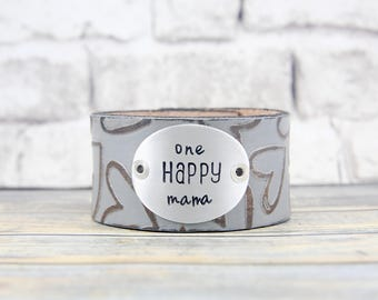 Leather Cuff for Her - Leather Wrap Bracelet - Everyday Bracelet - Leather Cuff Bracelet - Leather Bracelet - Mom Gift-Metal Stamped Jewelry