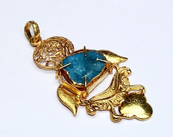 69x35mm Gold Electroplated Blue Druzy Geode Pendant / Designer Gold Pendant / Agate Druzy Geode Pendant / OOAK Pendant P14