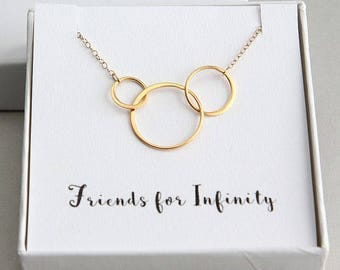 Three Friends Necklace, Three Ring Necklace, Three Circles Necklace, Gold Eternity Necklace, Three Gold Ring Necklace, Friends for Infinity