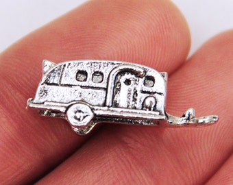 5 Camper Trailer Charms Antique Silver 3D Mold, RV Camping Car, Cute Metal Silver Charms