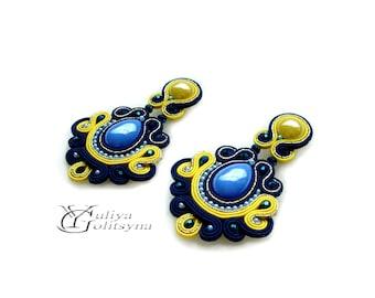 Soutache Statement earrings Soutache jewelry Violet soutache Blue and yellow soutache earrings