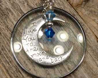 Magnifying Glass Necklace with Pewter Moon