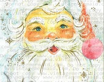 VINTAGE CHRISTMAS SANTA Pink Fabric Block pcs17.