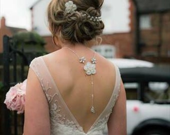 Stunning bridal flower backlace necklace, UK handmade with Mother of pearls, Swarovski Crystals and ivory pearls. Matching items available