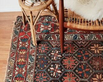 Antique Persian Kuba Rug - circa 1890s / 4x7ft / 120 x 121cm /