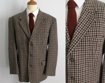Plaid sports coat jacket blazer, checked tweed, brown wool, french vintage retro, single breasted, large, 46 us, 56 eur