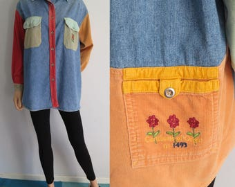 Blue denim corduroy shirt blouse, colorful oversized loose top, collared, long sleeve, medium