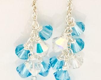 Delicate Aquamarine Swarovski Crystal Silver Dangle Earrings